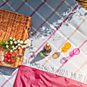 Pure New Wool Waterproof Picnic Blanket - Duck Egg Checks image