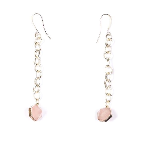TIANA JEWEL Rose Quartz Capsule Chain Earrings Silver in Purple