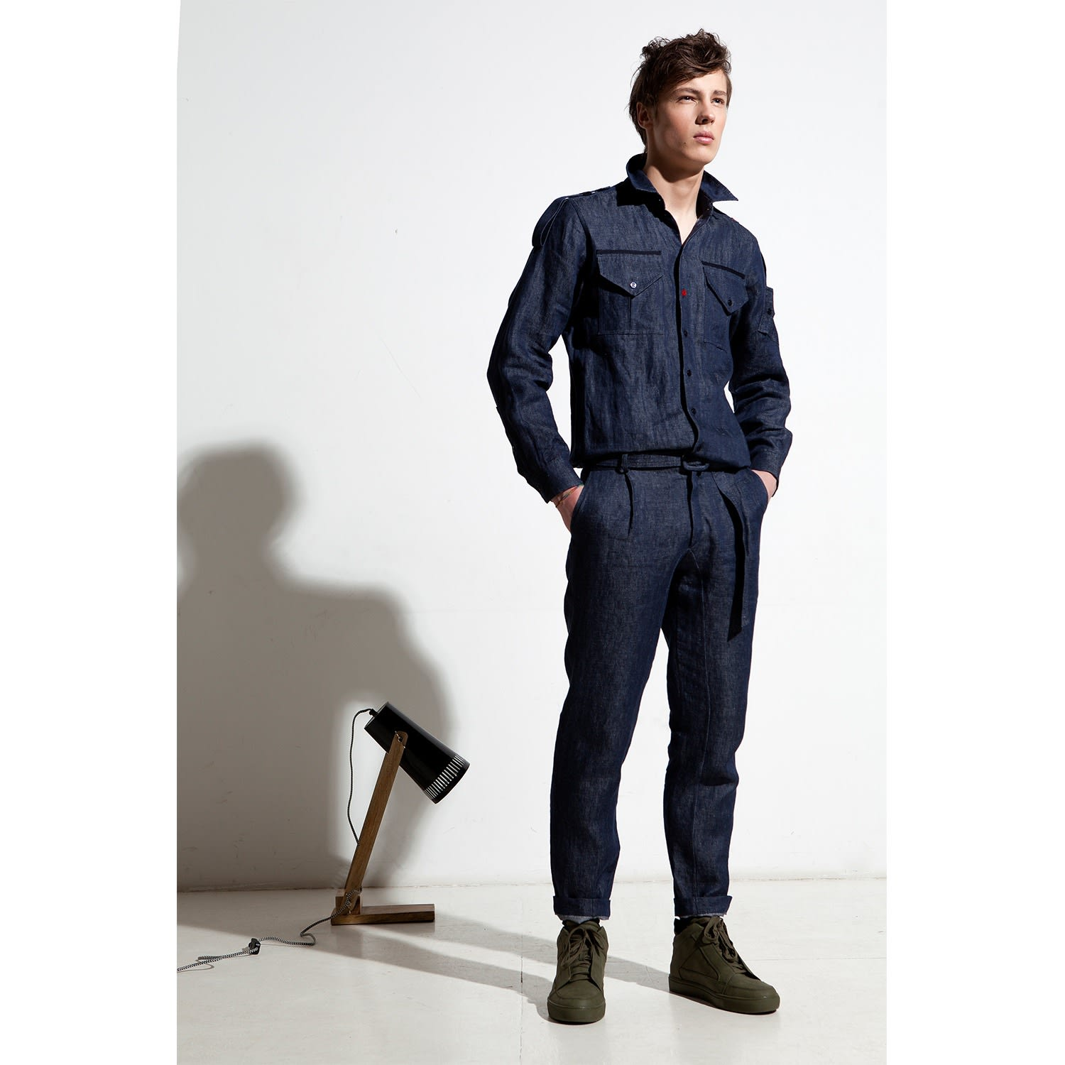 251744b518 Military Linen Denim Jumpsuit image