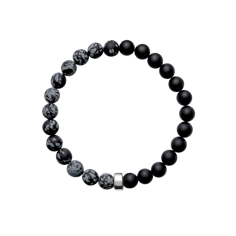 Handmade stretch bracelet for men with Sterling Silver,Black Onyx /& Obsidian Snowflake.