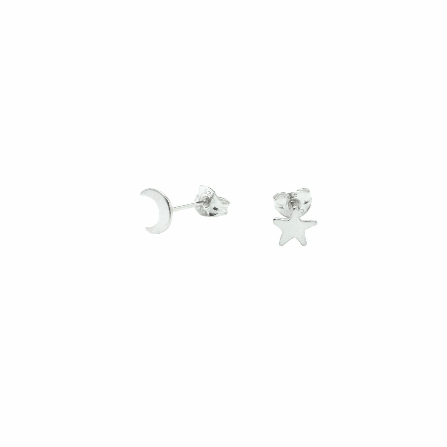 e5e8c98f9 Tiny Moon and Star Stud Earrings Sterling Silver | Lucy Ashton ...