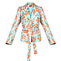 Mint Vanilla Jacket With Detachable Feathers Cuffs image