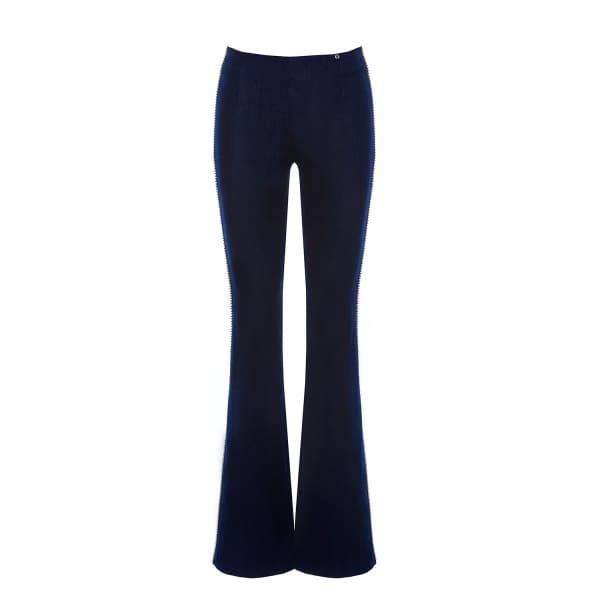 Nissa  Flared Denim Trousers With Metallic Detail
