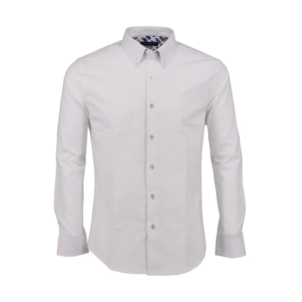 LORDS OF HARLECH Morris Shirt In White Oxford