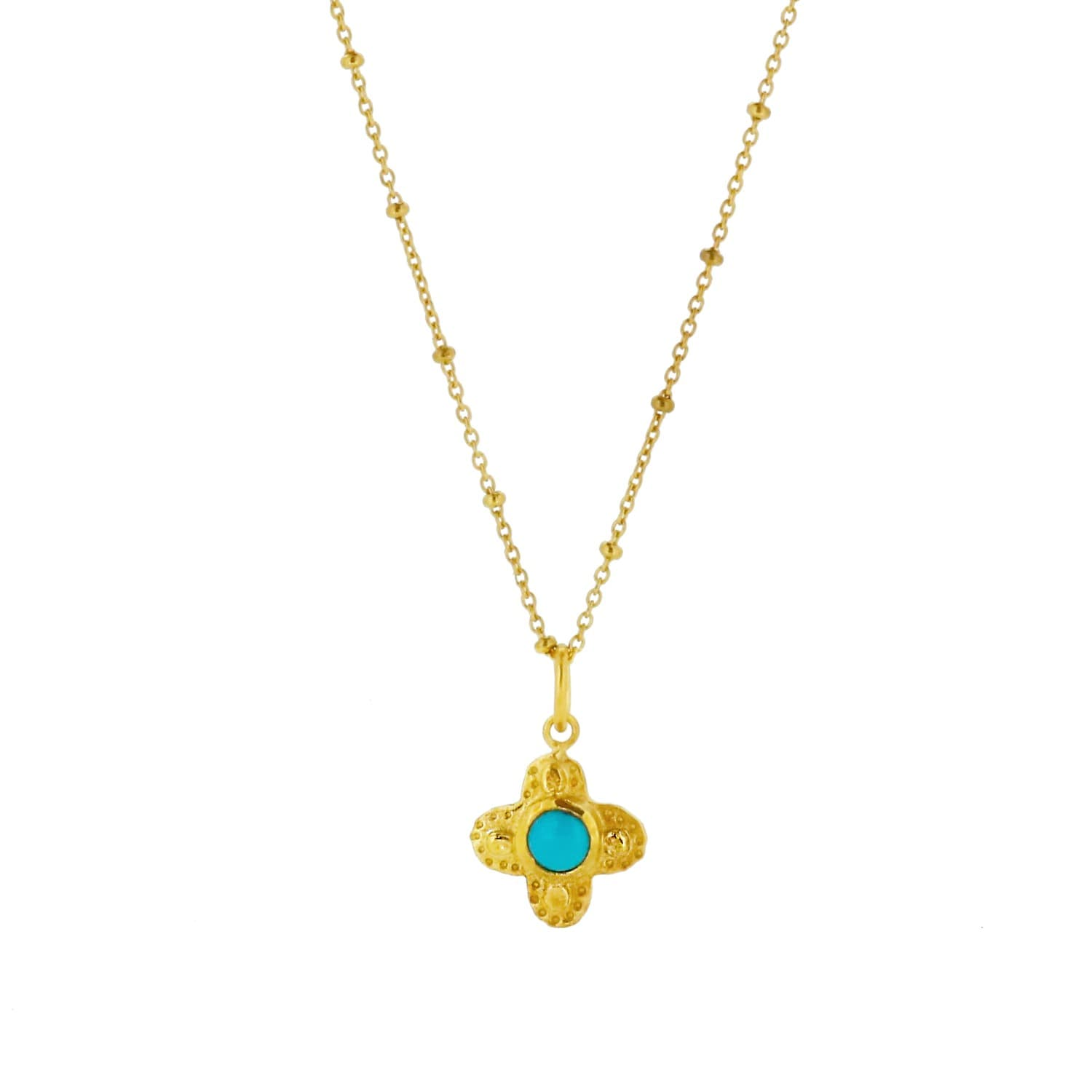 Clover Necklace with Turquoise Stone Gold image 262ce7c8b