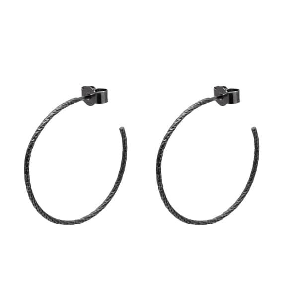 MYIA BONNER Black Large Diamond Hoop Earrings