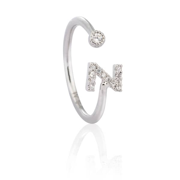 Silver Initial Z Ring