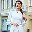 Daisy White Silk Wool Midi Dress image