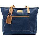 Mod 230 Fabric Blue & Vegetable Tanned Leather Tote image