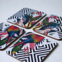 Geometric Aviary Drink Coasters image