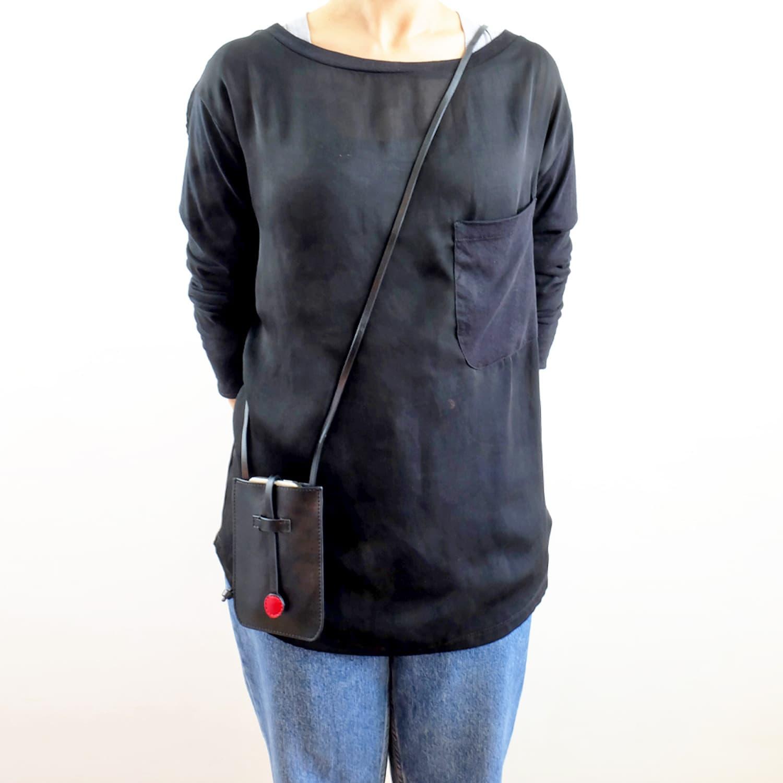 3827554ac5e4 Cambridge Leather Phone Crossbody Bag Black image