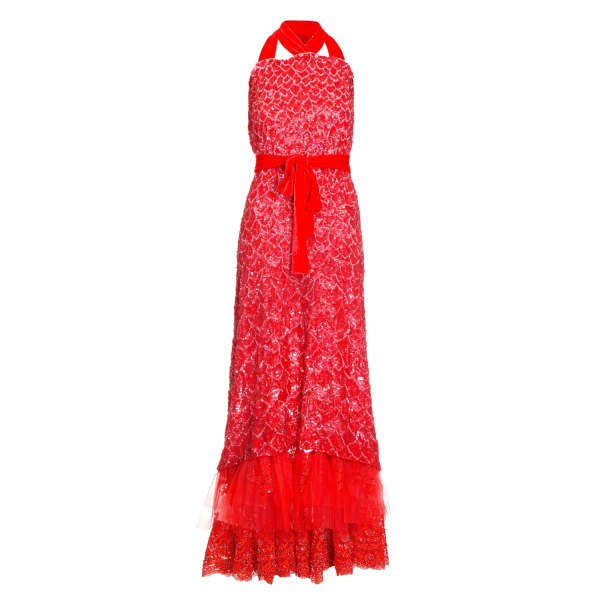 JIRI KALFAR Red Sequin Dress