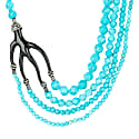 Multi Strand Coral Statement Necklace Turquoise Black image
