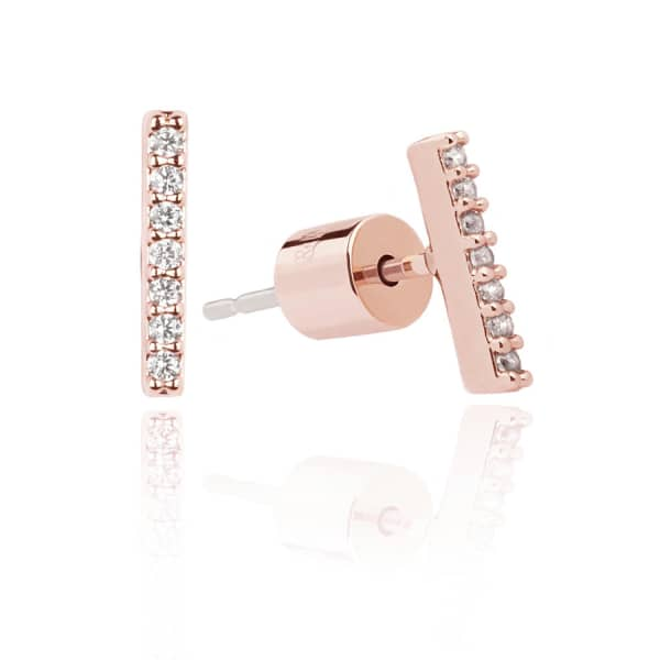 Astrid & Miyu Hold On Small Bar Earrings in Rose Gold
