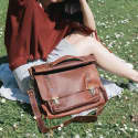 Leather Classic Satchel Messenger Bag in Vintage Brown image
