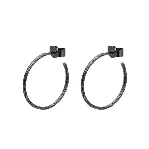 MYIA BONNER Black Medium Diamond Hoop Earrings