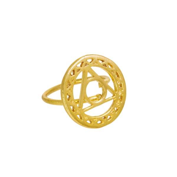 OTTOMAN HANDS Gold Throat Chakra Ring