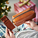 Classic Tan Leather Shaving Bag With Razor Cover image