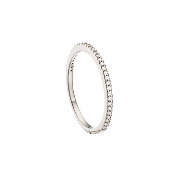 LILY & ROO Sterling Silver Diamond Style Stacking Ring