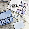 Mini Pastel Blue Suede Harvard Satchel Messenger Handbag image