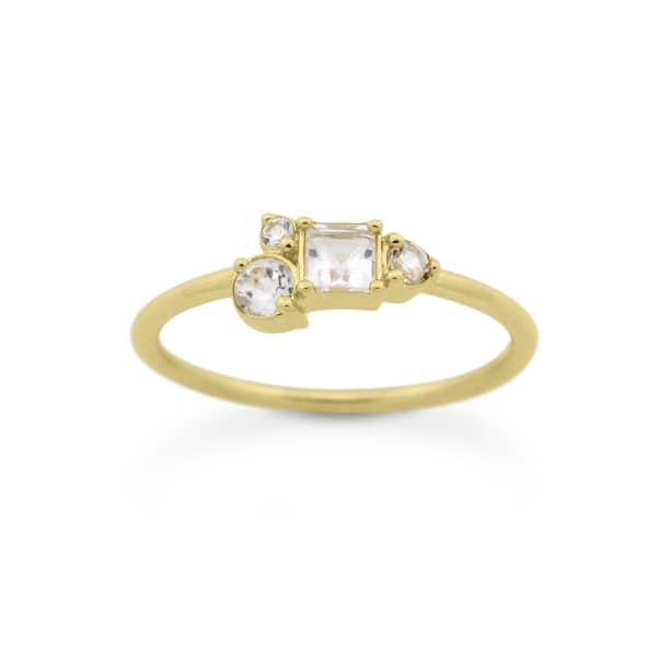 MONARC JEWELLERY Starry Night Ring Gold Vermeil & White Topaz