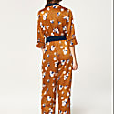 Wrap Front Floral Jumpsuit With Contrast Lapel And Piping image