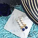 Round Freshwater Pearls & Natural Lapis Lazuli Drop Earrings image