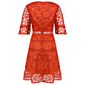 Orange Lace Cut Work Midi Dress image