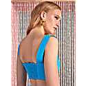 Square Neck Crop Top-Turquoise image