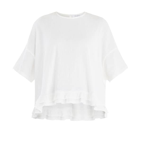 PAISIE Oversized Jersey Top With Drop Hem Ruffle In White