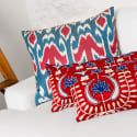 Blue Red Handwoven Silk Ikat Cushion image