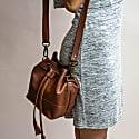 Mini Bucket Drawstring Bag In Vintage Brown Leather image