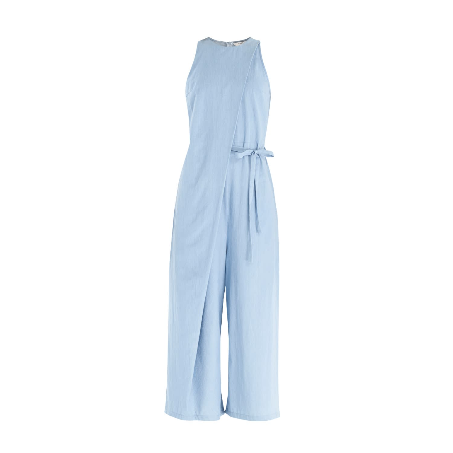25b961efbfe3 Denim Jumpsuit With Front Overlay   Side Tie (With Self Belt) In Light Blue