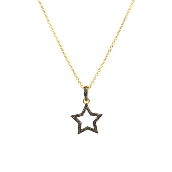 LATELITA LONDON Diamond Open Star Necklace Gold