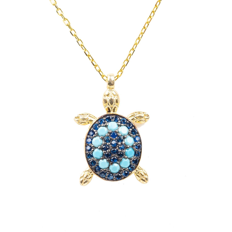 Turquoise Turtle Pendant Necklace