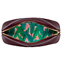 Burgundy Vegan Leather Oyster Cosmetic Case image