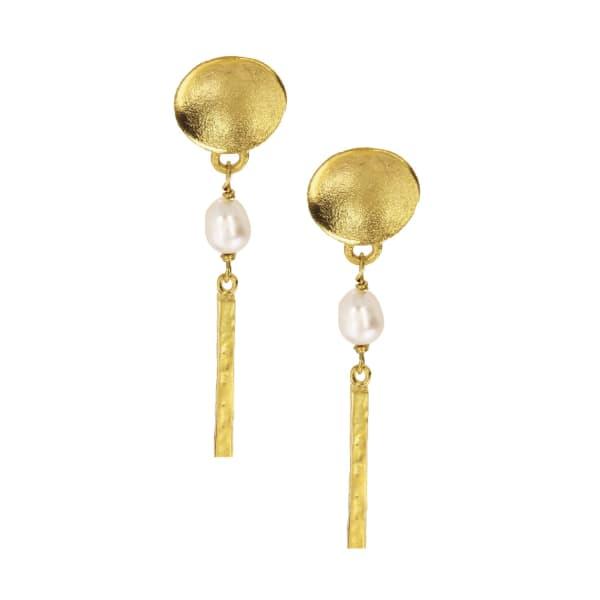 OTTOMAN HANDS Pearl & Gold Bar Drop Earrings