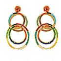 Large Multi-Color Hand Made Crochet Interlocked Links Earrings image
