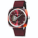 Briston Clubmaster Iconic Open Automatic Tortoise Shell, Sunray Dark Red Dial With Burgundy Nato Strap image