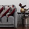 Silver & Red Velvet Cushion image