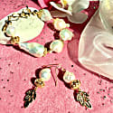 Natural Baroque Pearls With Rhinestones Bordered Pearl Bracelet & Earrings Gift Set image