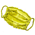 Neon Yellow Pleated Silk Charmeuse Face Mask With Ruffle Detail image