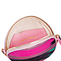 Cona Pink Leather Round Purse With Handloomed Peshtemal image