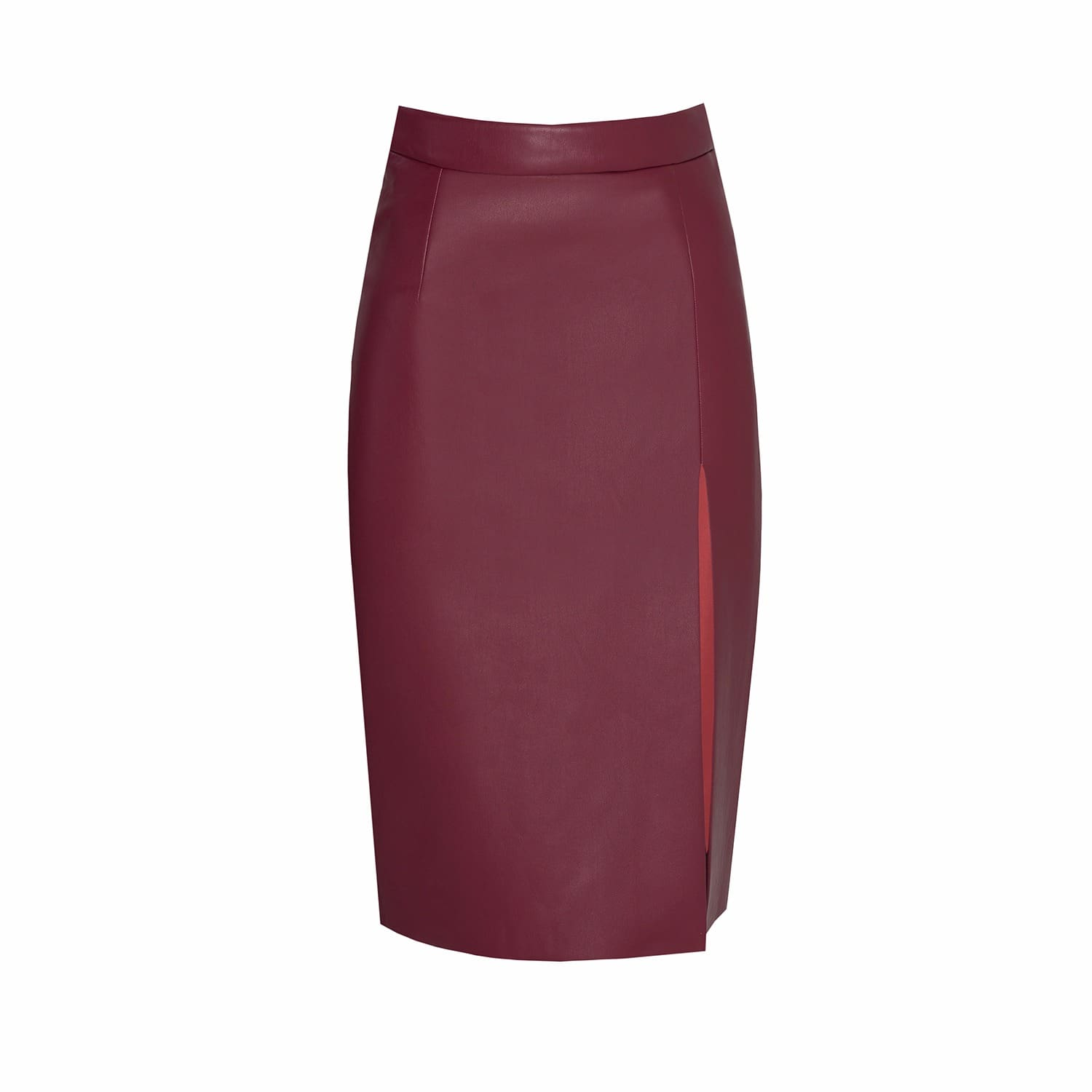 1d3b364894 Red Leatherette Pencil Skirt With Slit | MYBESTFRIENDS | Wolf & Badger