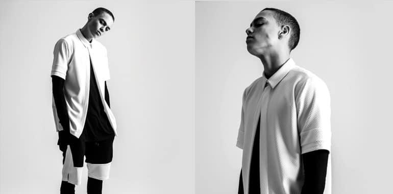 Model white shirt double