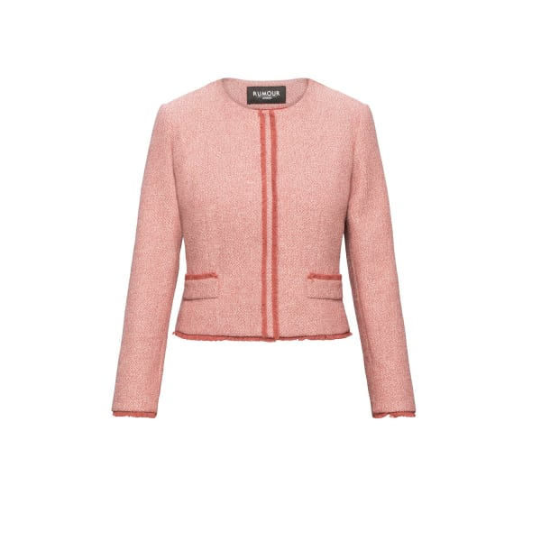 RUMOUR LONDON Eleanor Soft Pink Tweed Jacket With Fringing Detail in Purple