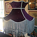 Midnight Sky Purple Velvet Crown Shade With Silver Fringe & Crystals image