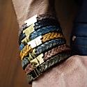 Rugged Brown Gold Leather Bracelet Serac Bracelet image