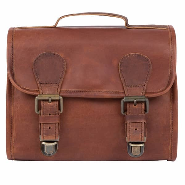 MAHI LEATHER Leather Hanging Wash Bag in Vintage Brown with Buckles