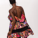 Satin Mini Dress With Lace Inserts image